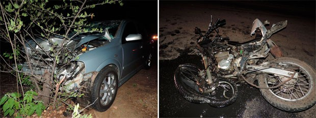 Caminhonete foi abandonada no local do acidente e a moto do cabo ficou destruída (Foto: Jailton Farias)