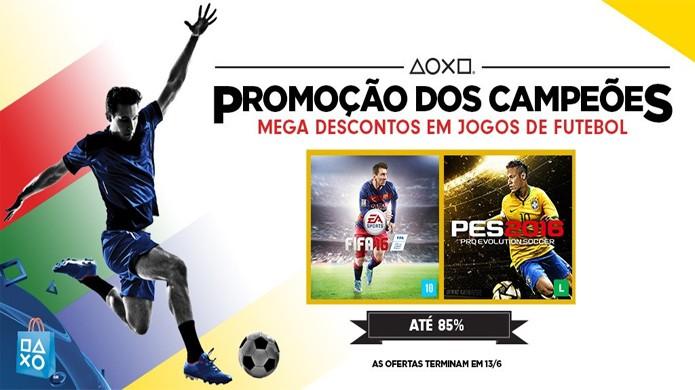 Promoção dos Campeões traz grandes descontos em Fifa 16 e PES 2016 para PlayStation 4 e PS3 (Foto: Reprodução/PlayStation)