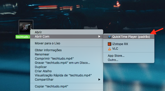 Iniciando um vídeo no Quicktime do Mac OS (Foto: Reprodução/Marvin Costa)