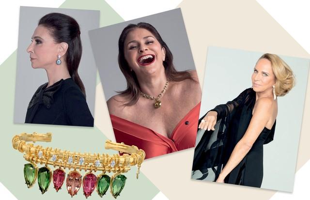 Christiana Neves da Rocha, Fafá de Belém e Lenny Niemeyer. Abaixo, bracelete ará, de ouro, turmalinas verdes, rubelitas, topázios-imperiais e diamantes (Foto: Bob Wolfenson e Divulgação)