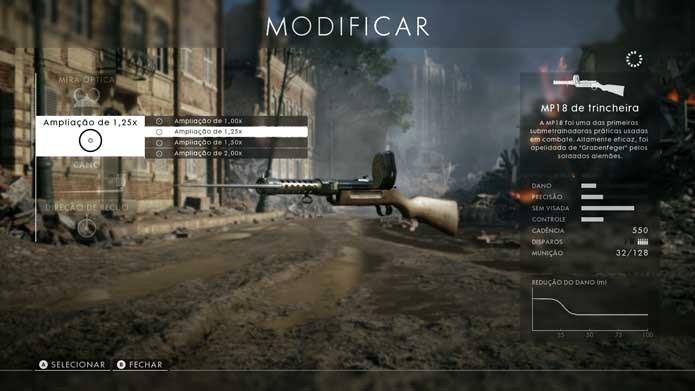 Personalize suas armas com itens em Battlefield 1 (Foto: Reprodução/Murilo Molina)