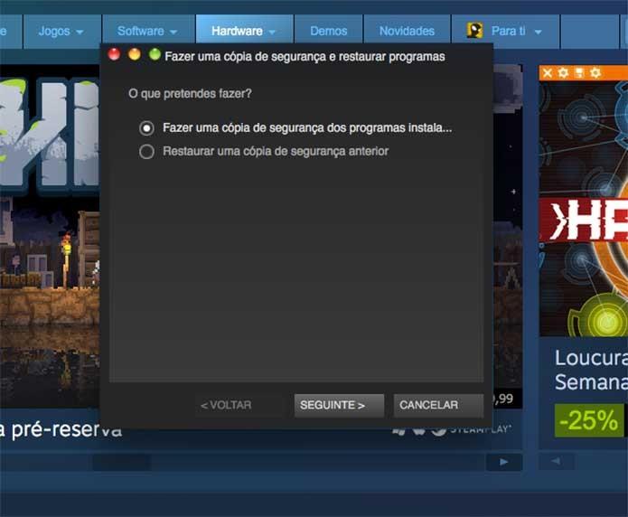 Fazer a cópia do jogo do Steam ou restaurar (Foto: Reprodução/Felipe Vinha)