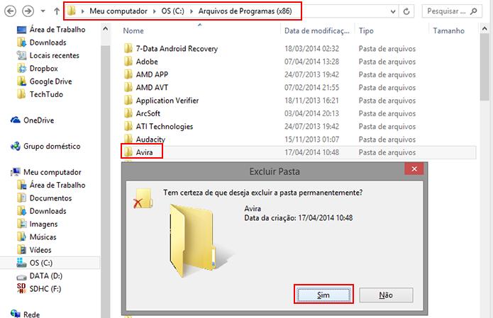 Localize a pasta do Avira em Arquivos de Programas e apague (Foto: Reprodução/Paulo Alves)