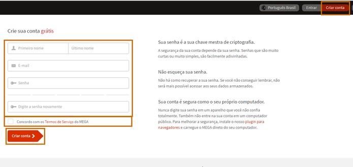 Acesse o site do Mega e adicione suas informações para criar a conta (Foto: Reprodução/Barbara Mannara)