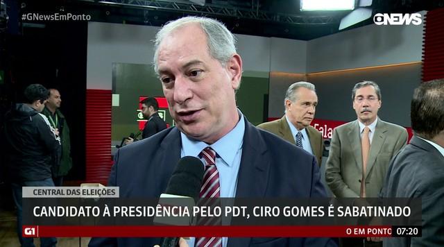 Ciro Gomes, candidato do PDT à presidência, participa da Central das Eleições