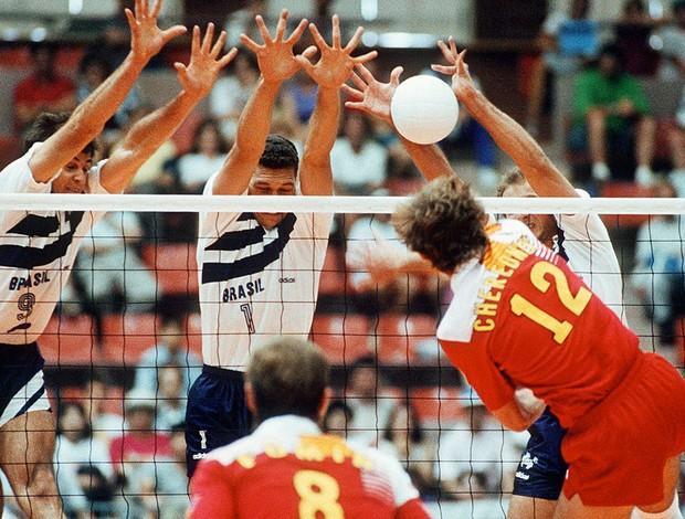Marcelo Negrão, Vôlei, 1992 (Foto: Agência AFP)