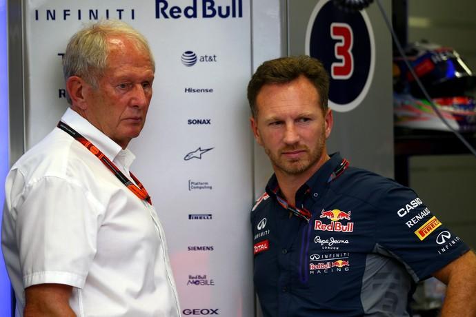 Helmut Marko e Christian Horner no GP de Cingapura (Foto: Getty Images)