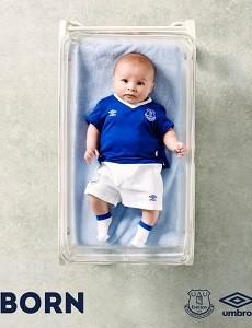 Bebê novo uniforme Everton Umbro blog