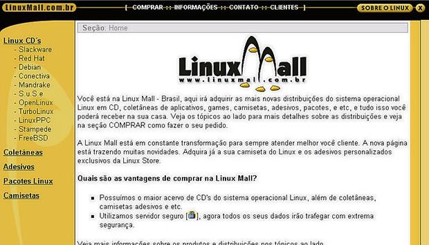 pegn-como-eu-fiz-foto3 (Foto: Layout do Linux Mall, um dos primeiros e-commerces do país, em 1999)