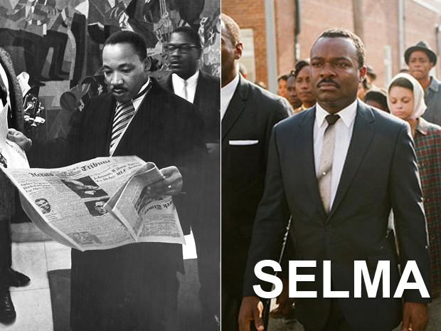 À esquerda, o pastor protestante e ativista político Martin Luther King Jr. antes de receber o Prêmio Nobel da Paz em 1964, e, à dir., o ator David Oyelowo em 'Selma' (Foto: REUTERS/Moneta Sleet Jr/Johnson Publishing Co./Ebony Collection/Handout e Divulgação)