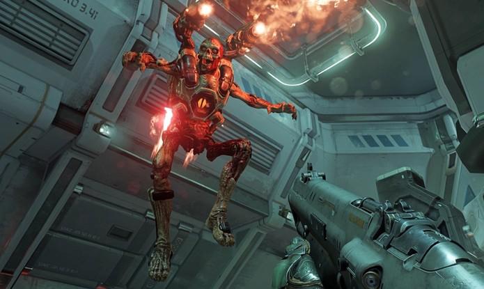 Novamente teremos que abrir portas com chaves coloridas no Doom (Foto: Divulgação/id Software)