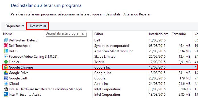 Clique para desinstalar do Windows (Foto: Reprodução/Paulo Alves)