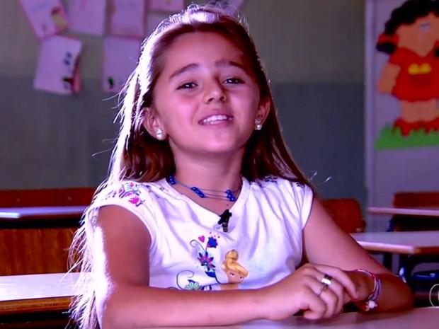Jordanna Araújo é uma das vencedoras do Concurso Jornalista Mirim (Foto: Reprodução/TV Anhanguera)