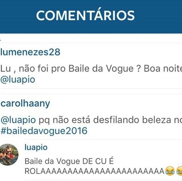 Luana Piovani critica look de Thassia Neves no Instagram (Foto: Reprodução/ Instagram)