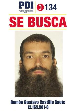Ramón Gustavo C.Gaete é procurado pela polícia (Foto: Divulgação/Policía de Investigaciones de Chile)