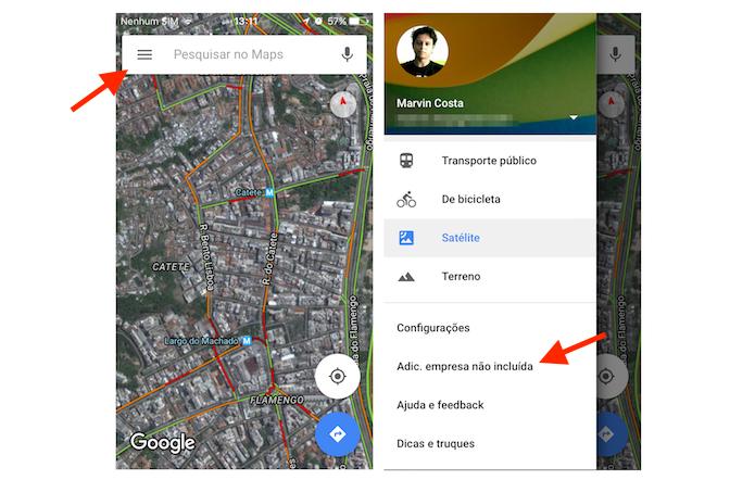 Acessando a ferramenta para adicionar empresa não incluída no Google Maps através do aplicativo para celular (Foto: Reprodução/Marvin Costa)