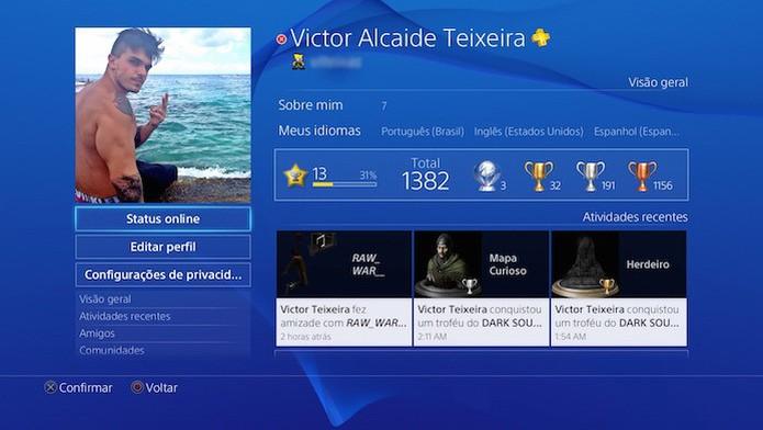 Perfil offline, porém conectado à internet no PS4 (Foto: Reprodução/Victor Teixeira)