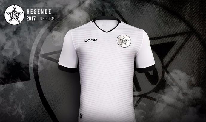 Novo uniforme do Resende é branco com detalhes em cinza (Foto  Divulgação  Icone f01ec4348ecc7