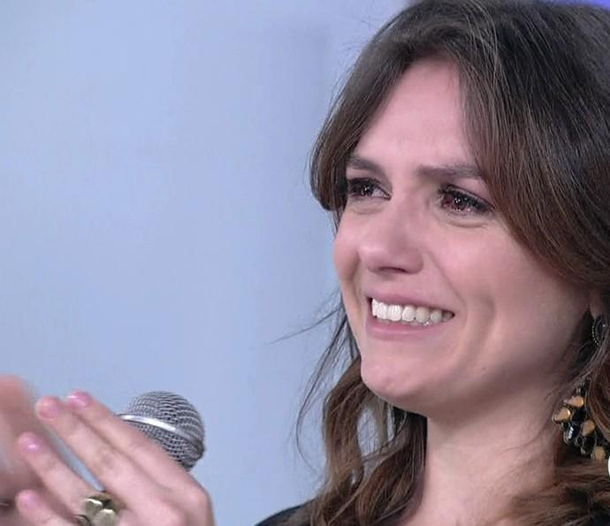 Monica Iozzi foi às lágrimas com homenagens (Foto: Vídeo Show / Gshow)