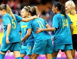 Comemoração Cristiane no jogo Brasil e Nova Zelandia (Foto: Agência Reuters)
