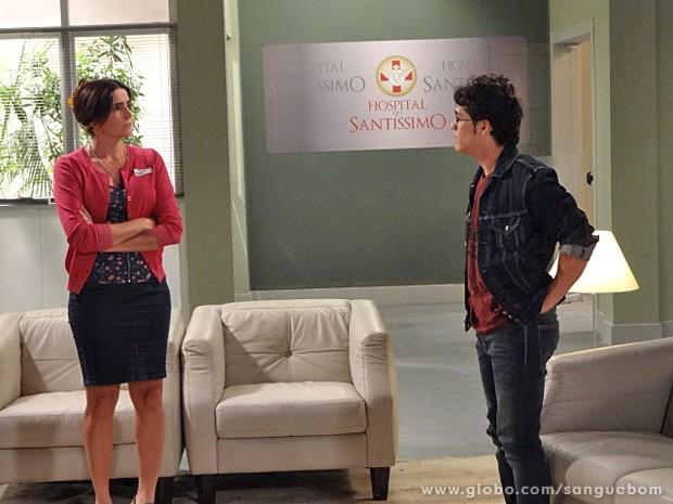 Rosemere discute com Peixinho no hospital (Foto: Sangue Bom / TV Globo)