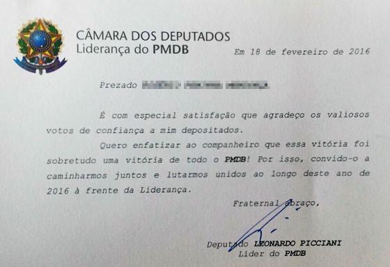 Líder do PMDB agradece correligionários por votos (Foto: Reprodução)