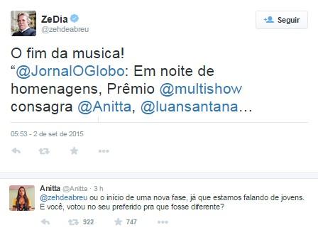 Resposta de Anitta ao tweet de José de Abreu (Foto: Reprodução / Twitter)