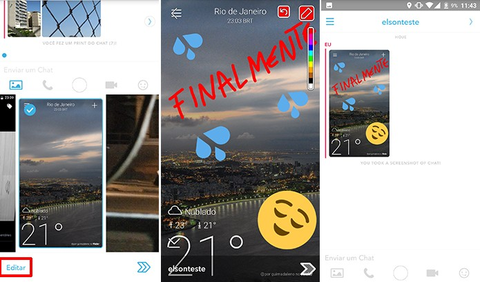 Usuário pode editar foto antes de enviar no chat do Snapchat (Foto: Reprodução/Elson de Souza)