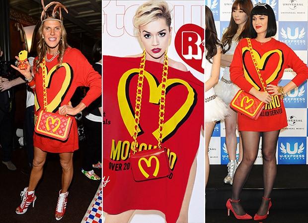 Coleção Moschino - Estampa McDonald's - Anna Dello Russo, Rita Ora e Katy Perry (Foto: Agência Getty Images)