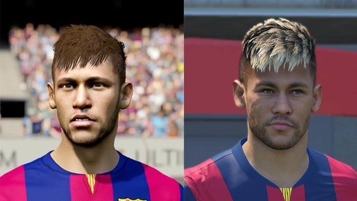 Neymar ficou melhor em qual jogo? FIFA 15 (Esquerda) e PES 2015 (Direita)?  (Foto: Reprodução/Murilo Molina)
