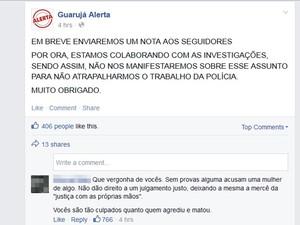 Dono da página Guarujá Alerta afirma estar colaborando com as investigações (Foto: Reprodução / Facebook)
