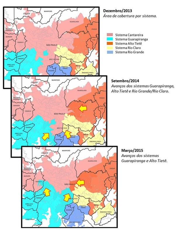Plano de contingência mostra as mudanças nas áreas abastecidas pelos reservatórios (Foto: Reprodução)