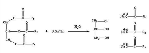 Reação de Saponificação de um triacilglicerol (Foto: Wikipedia)