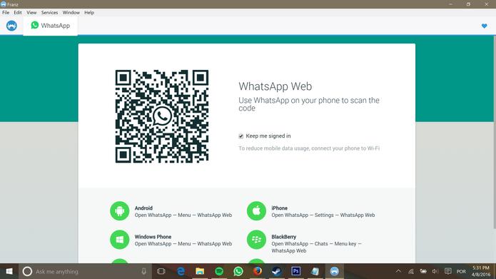 Usuário deve fazer login no aplicativo de mensagens como se estivesse em um navegador (Foto: Reprodução/Elson de Souza)