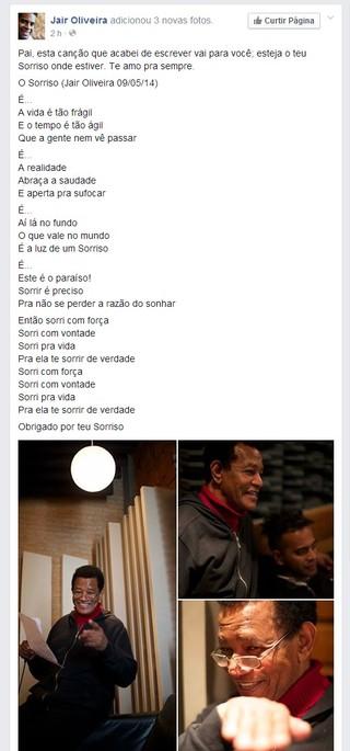 Nova música Jair Oliveira (Foto: Reprodução/ Facebook)