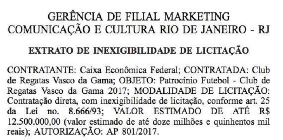 Publicação da Caixa no Diário Oficial da União: estatal prevê valor máximo em contrato (Foto: Reprodução)