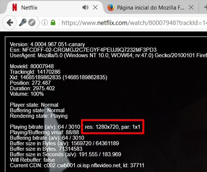 Resolução HD (720p) também é o limite do Firefox (Foto: Reprodução/Filipe Garrett)
