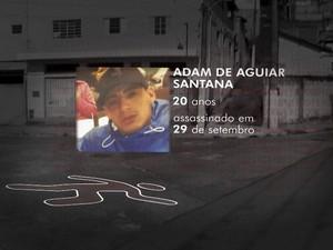 Adam de Aguiar Santana, de 20 anos, foi morto a tiros quando conversava com amigos na Zona Sul de São Paulo (Foto: Reprodução TV Globo)