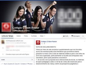 Colégio divulgou nota de esclarecimento sobre o assunto (Foto: Facebook/O Bom Pastor)