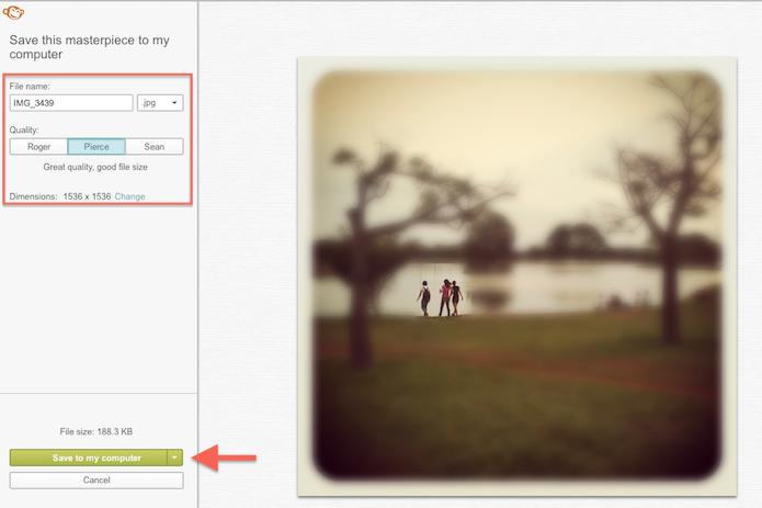 Inserindo detalhes para salvar uma imagem editada pelo PicMonkey (Foto: Reprodução/Marvin Costa)