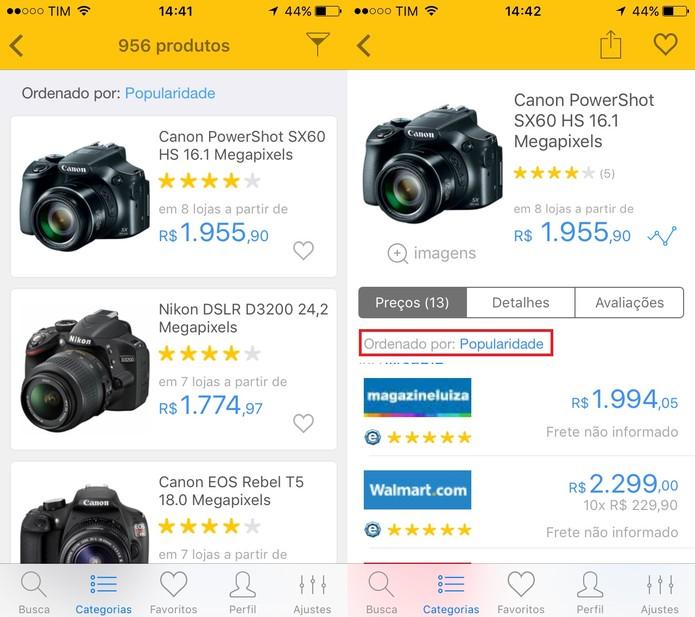 Busque pelo produto desejado e abra a página dele para ver os preços (Foto: Reprodução/Juliana Pixinine)