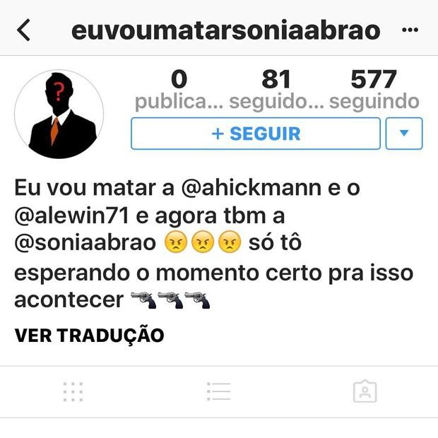 Perfil ameaça Sonia Abrão, Ana Hickman e seu marido (Foto: Instagram / Reprodução)