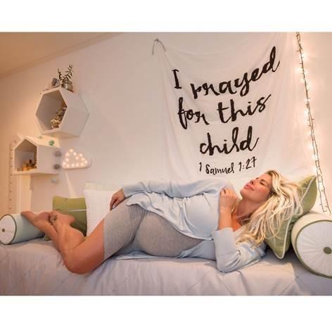 Karina Bacchi no quarto de seu primeiro filho (Foto: Divulgação)