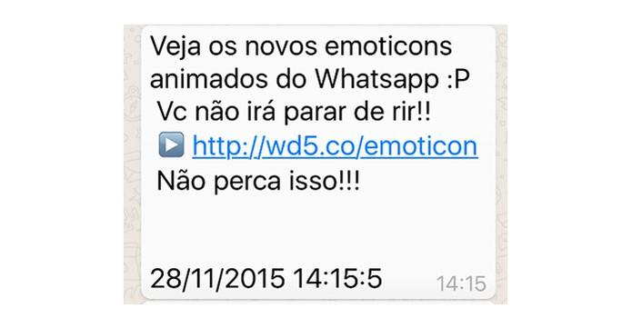 Recado do WhatsApp cite emojis e encaminha para link com ação mal-intencionada (Foto: Divulgação/Kaspersky)