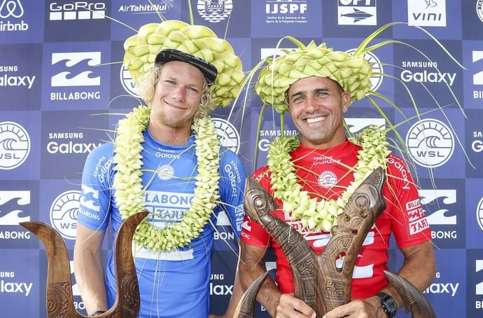 John John Florence e Kelly Slater, os finalistas da etapa do Taiti (Foto: Divulgação)