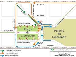 Confira as mudanças no trânsito do entorno da Praça da Liberdade (Foto: Divulgação/BHTrans)