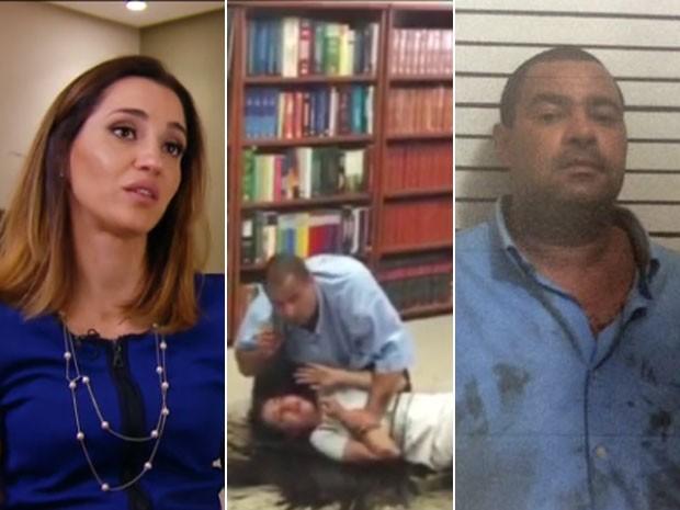 Juíza Tatiane Moreira de Lima; vídeo com ela sendo mantida refém por Alfredo José dos Santos; e imagem de agressor detido pela polícia (Foto: Reprodução / TV Globo / Polícia Civil)