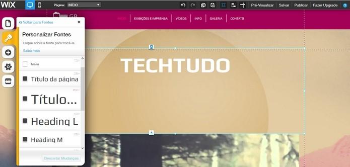 Personalizar texto no Wix (Foto: Reprodução/Carolina Ribeiro)
