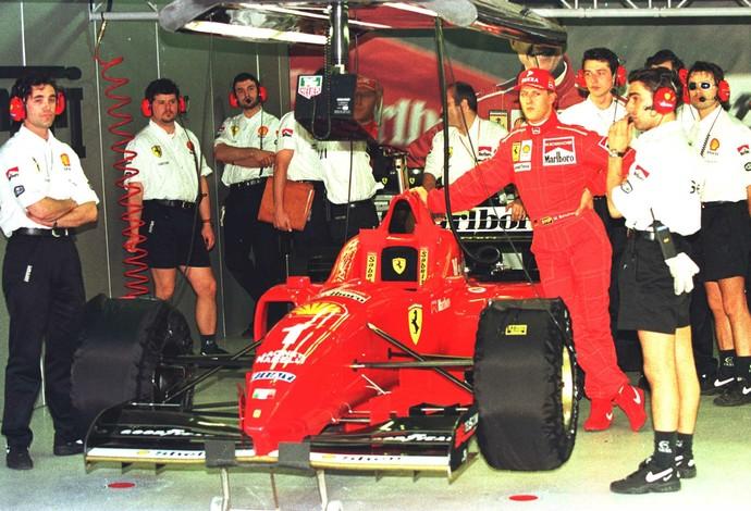 Em 1996, Michael Schumacher estreou na Ferrari e conquistou três vitórias (Foto: Getty Images)