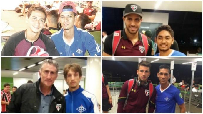 Jogadores do Atlético-AC tiram fotos com jogadores do São Paulo em aeroporto (Foto: Reprodução/Facebook)